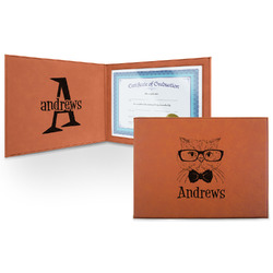 Hipster Cats Leatherette Certificate Holder (Personalized)