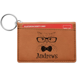 Hipster Cats Leatherette Keychain ID Holder (Personalized)
