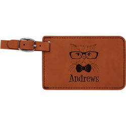 Hipster Cats Leatherette Luggage Tag (Personalized)