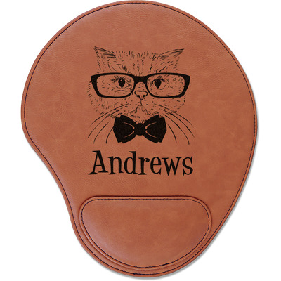 Hipster Cats Leatherette Mouse Pad with Wrist Support (Personalized)