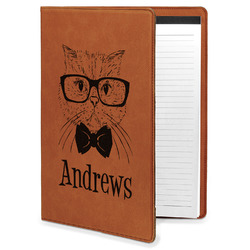 Hipster Cats Leatherette Portfolio with Notepad (Personalized)