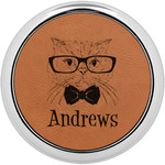 Hipster Cats Leatherette Round Coaster w/ Silver Edge (Personalized)