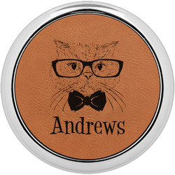 Hipster Cats Leatherette Round Coaster w/ Silver Edge - Single or Set (Personalized)