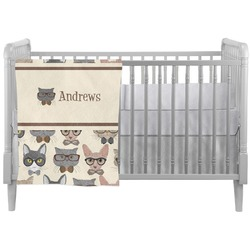 Hipster Cats Crib Comforter / Quilt (Personalized)