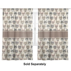 """Hipster Cats Curtains - 40""""x54"""" Panels - Lined (2 Panels Per Set) (Personalized)"""