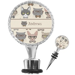 Hipster Cats Wine Bottle Stopper (Personalized)