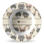 Hipster Cats Plastic Bowl - Microwave Safe - Composite Polymer (Personalized)