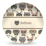 Hipster Cats Microwave Safe Plastic Plate - Composite Polymer (Personalized)