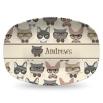 Hipster Cats Plastic Platter - Microwave & Oven Safe Composite Polymer (Personalized)