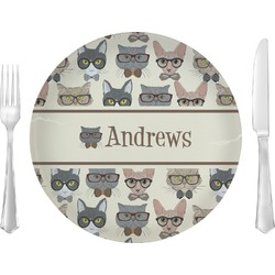 "Hipster Cats Glass Lunch / Dinner Plates 10"" - Single or Set (Personalized)"