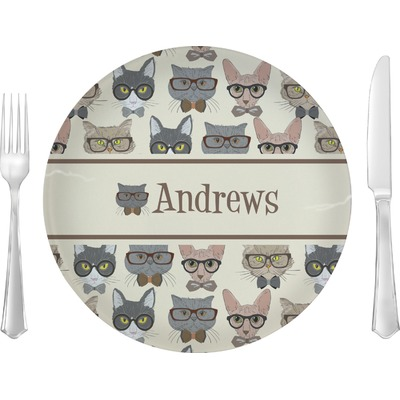 """Hipster Cats 10"""" Glass Lunch / Dinner Plates - Single or Set (Personalized)"""