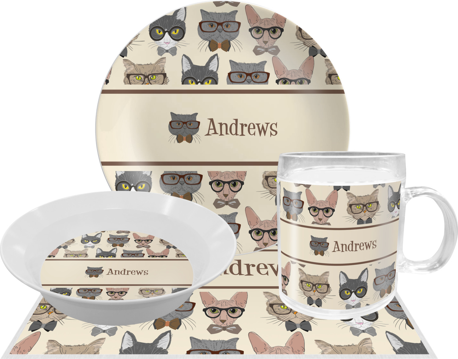 Hipster Cats Dinner Set - 4 Pc (Personalized)  sc 1 st  YouCustomizeIt & Hipster Cats Dinner Set - 4 Pc (Personalized) - YouCustomizeIt