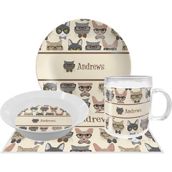 Hipster Cats Dinner Set - 4 Pc (Personalized)