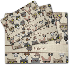 Hipster Cats Dog Food Mat w/ Name or Text
