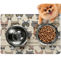 Hipster Cats Dog Food Mat - Small w/ Name or Text