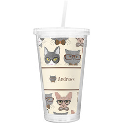 Hipster Cats Double Wall Tumbler with Straw (Personalized)
