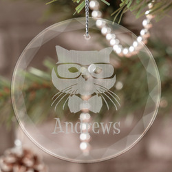 Hipster Cats Engraved Glass Ornament (Personalized)