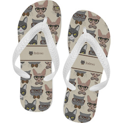 Hipster Cats Flip Flops - Large (Personalized)