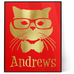 Hipster Cats 8x10 Foil Wall Art - Red (Personalized)