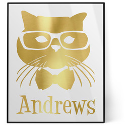Hipster Cats 8x10 Foil Wall Art - White (Personalized)