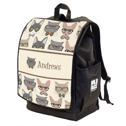 Hipster Cats Backpack w/ Front Flap  (Personalized)