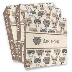 Hipster Cats 3 Ring Binder - Full Wrap (Personalized)