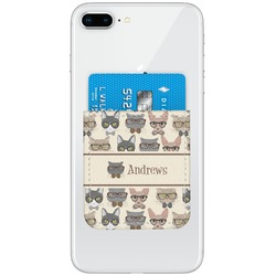 Hipster Cats Genuine Leather Adhesive Phone Wallet (Personalized)
