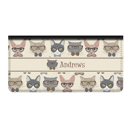 Hipster Cats Genuine Leather Checkbook Cover (Personalized)