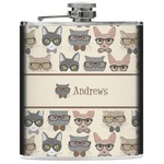 Hipster Cats Genuine Leather Flask (Personalized)