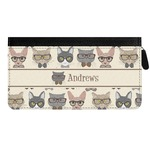 Hipster Cats Genuine Leather Ladies Zippered Wallet (Personalized)
