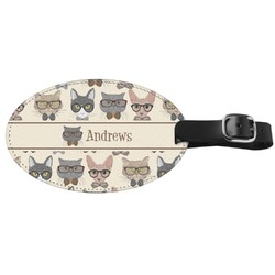 Hipster Cats Genuine Leather Oval Luggage Tag (Personalized)