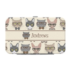 Hipster Cats Genuine Leather Small Framed Wallet (Personalized)