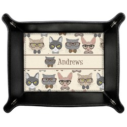 Hipster Cats Genuine Leather Valet Tray (Personalized)