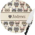 Hipster Cats Round Glass Cutting Board (Personalized)