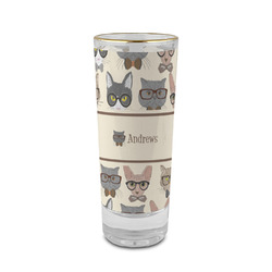 Hipster Cats 2 oz Shot Glass - Glass with Gold Rim (Personalized)