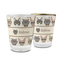 Hipster Cats Glass Shot Glass - 1.5 oz (Personalized)