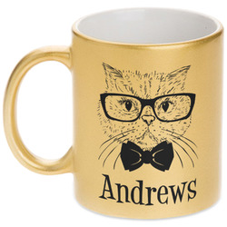Hipster Cats Gold Mug (Personalized)