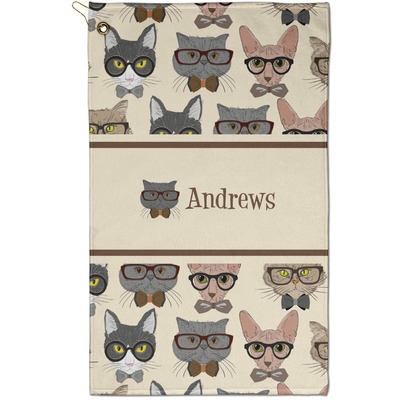 Hipster Cats Golf Towel - Full Print - Small w/ Name or Text