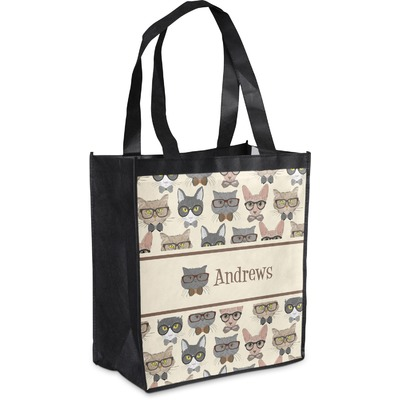 Hipster Cats Grocery Bag (Personalized)