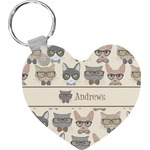 Hipster Cats Heart Keychain (Personalized)