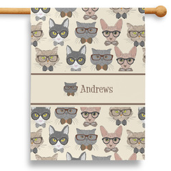 """Hipster Cats 28"""" House Flag (Personalized)"""