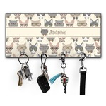 Hipster Cats Key Hanger w/ 4 Hooks w/ Graphics and Text