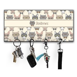 Hipster Cats Key Hanger w/ 4 Hooks (Personalized)