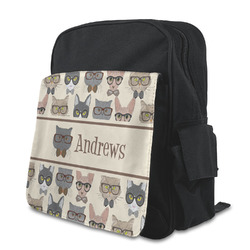 Hipster Cats Kid's Backpack with Customizable Flap (Personalized)
