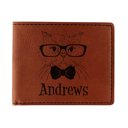 Hipster Cats Leatherette Bifold Wallet (Personalized)