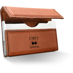 Hipster Cats Leatherette Business Card Case (Personalized)