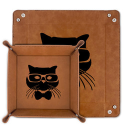 Hipster Cats Faux Leather Valet Tray (Personalized)