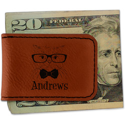 Hipster Cats Leatherette Magnetic Money Clip (Personalized)
