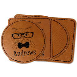 Hipster Cats Faux Leather Iron On Patch (Personalized)