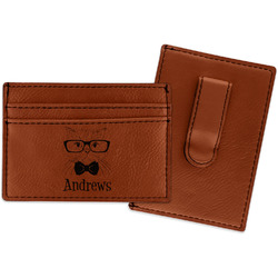 Hipster Cats Leatherette Wallet with Money Clip (Personalized)